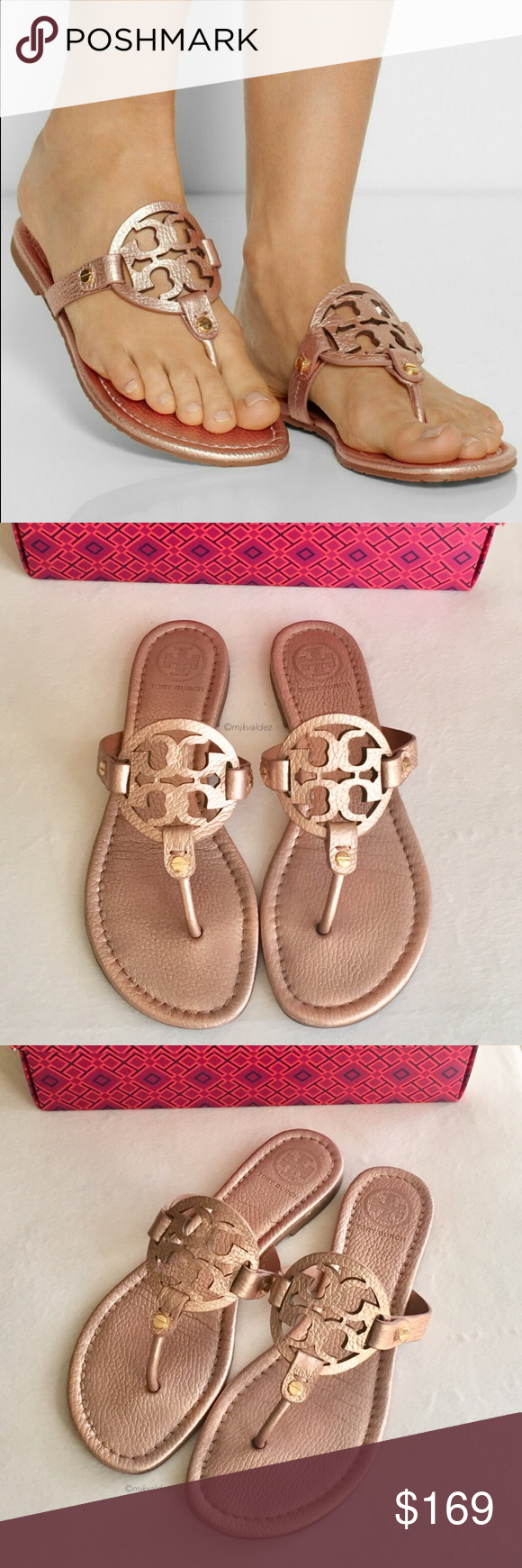 85989a4ed822f RARE Rose Gold Tumbled Leather Miller Sandals RARE and Hard to find Tory  Burch Miller Sandals