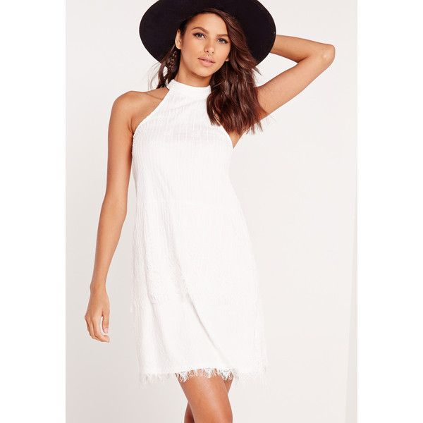 Missguided High Neck Lace A-Line Shift Dress (€42) ❤ liked on Polyvore featuring dresses, white, white lace dress, long white dress, high neck lace dress, lace shift dress and shift dress