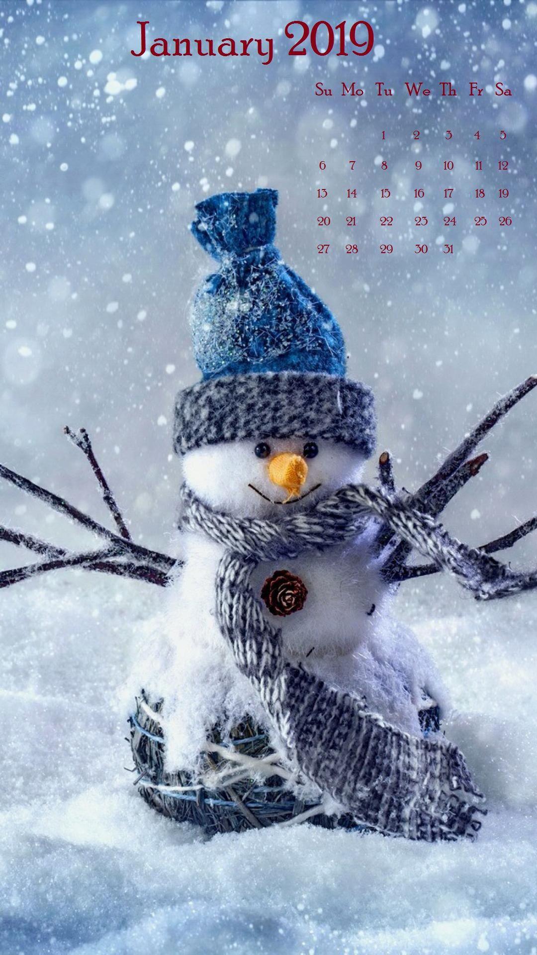 Snow january 2019 iPhone Calendar Christmas wallpaper