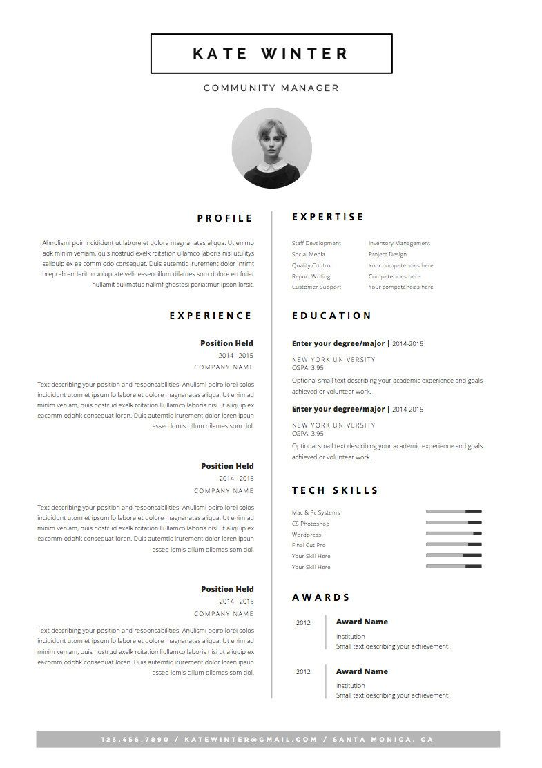 minimalist resume template  u0026 cover letter   icon set for microsoft word