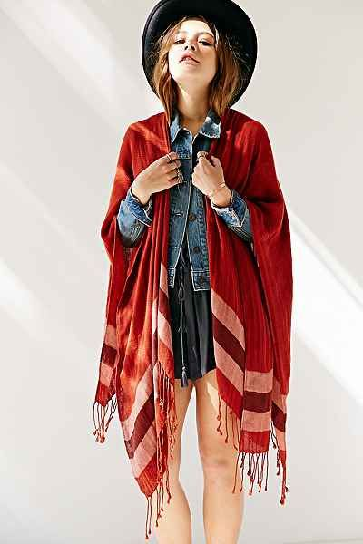Border Stripe Blanket Open Poncho - Urban Outfitters