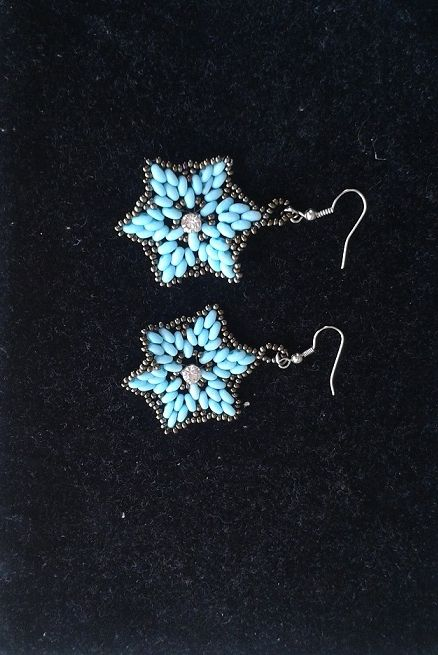 Ikiz Boncuklardan Kupe Calismam Agustos 2014  Preciosa Twin Beads Earrings August 2014  By Gunes Yalciner