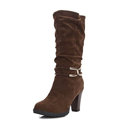 MayMeenth Womens MidTop Solid PullOn Round Closed Toe HighHeels Boots Brown 36 *** More info could be found at the image url.