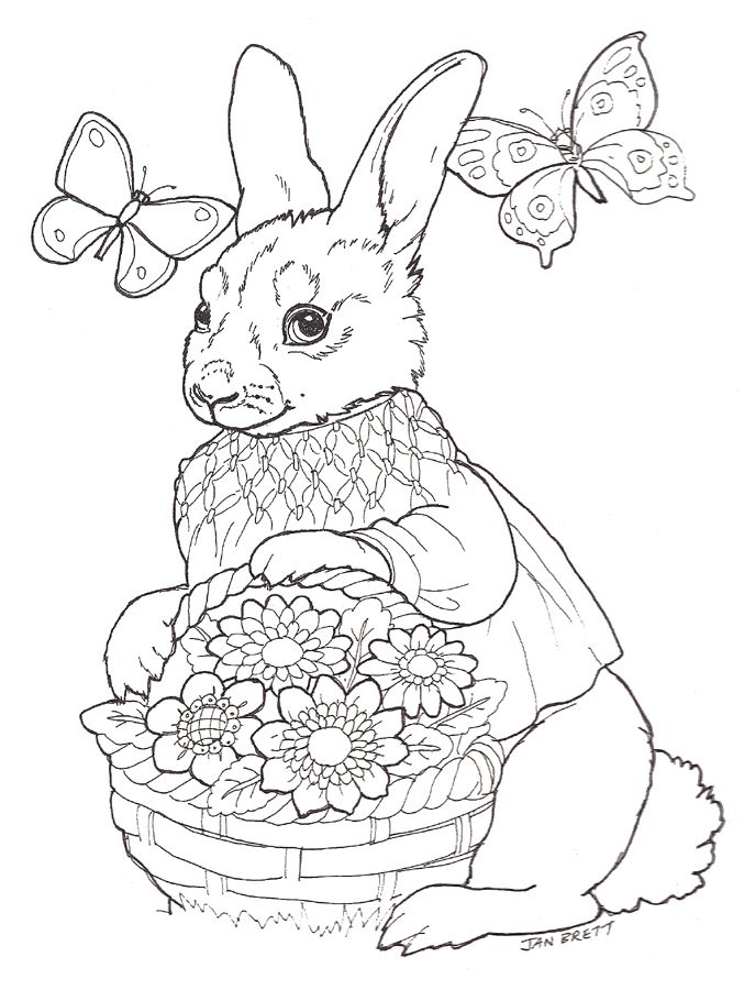 Easter Egg Mural Girl Bunny Adult Coloring Easter