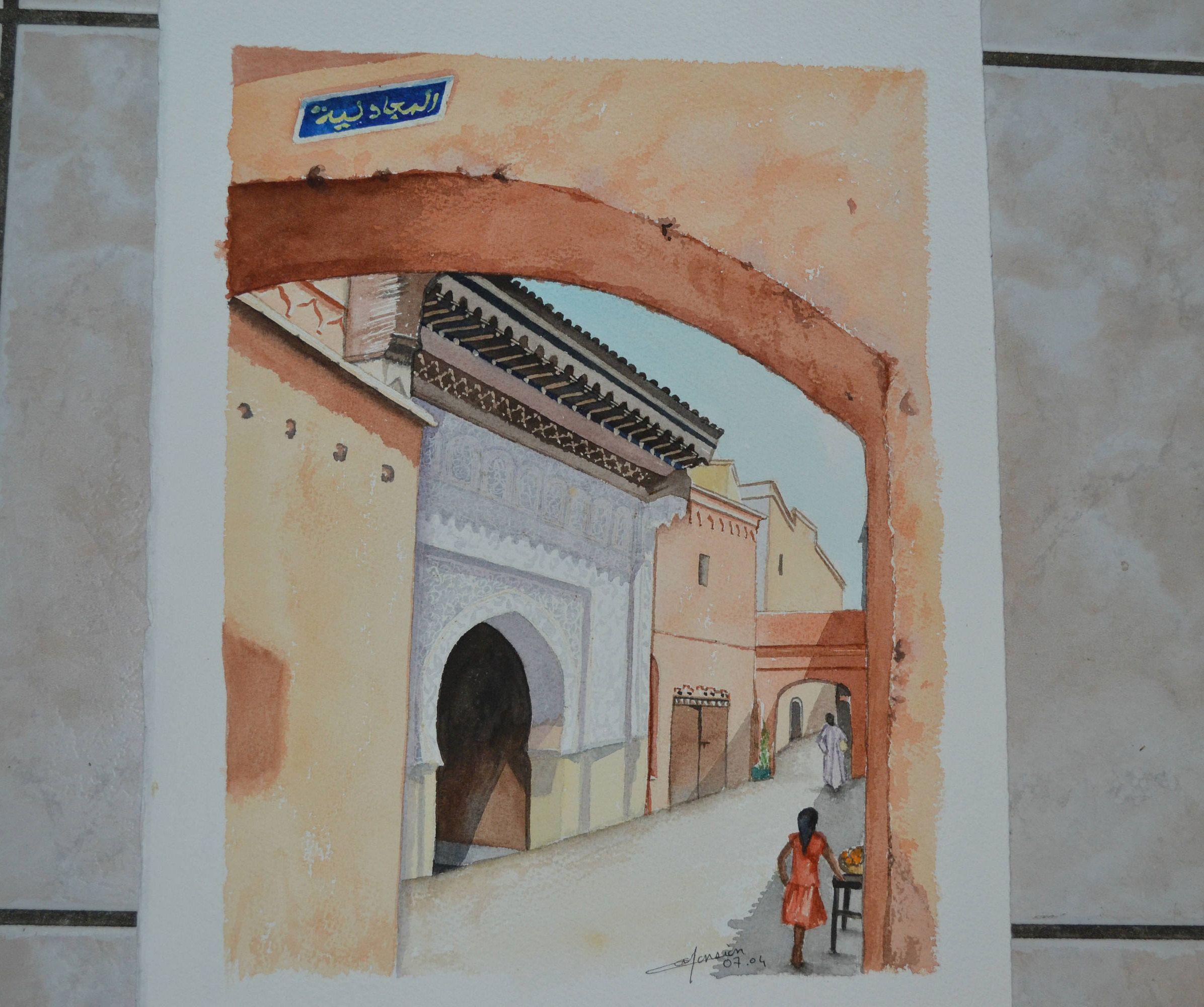 Aquarelle Maroc La Medina Sous Le Soleil De Marrakech Tableau