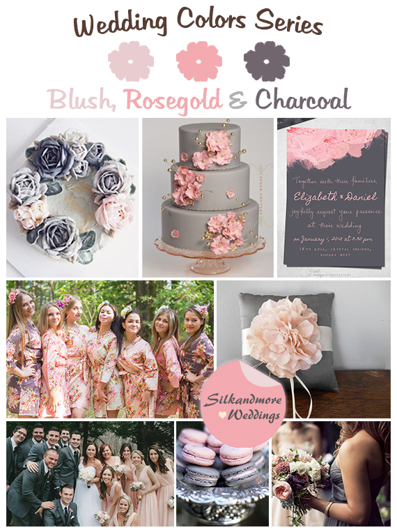 Blush Rosegold And Charcoal Gray Wedding Colors Wedding Colors Charcoal Grey Weddings Wedding Color Palette