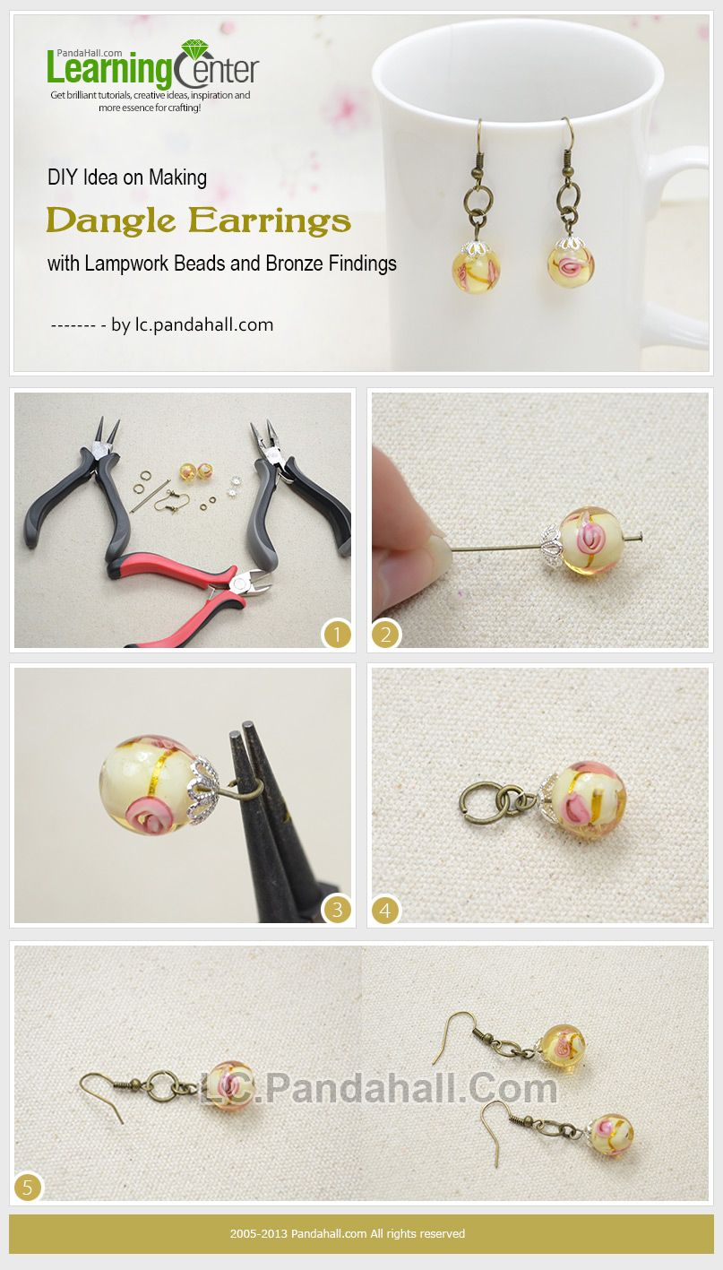 Diy Idea On Making Dangle Earrings With Lampwork Beads And Bronze