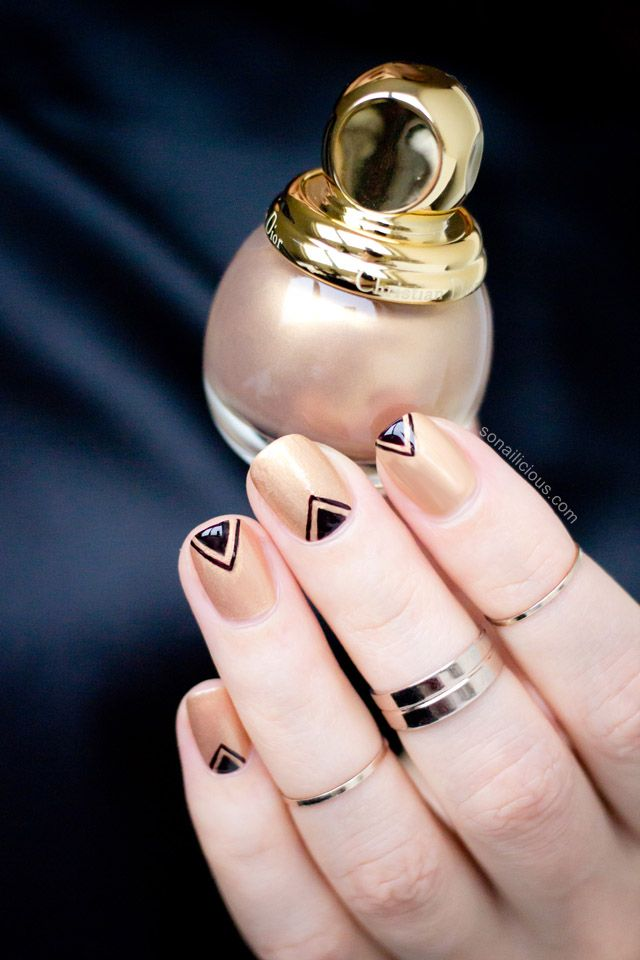 Delicate Triangles Nail Art with Diorific Gold Equinoxe:  http://sonailicious.com/diorific-gold-equinoxe-241-review-nail-art/ - Pure Gold For Your Nails: Diorific Gold Equinoxe 241 – Review & Nail