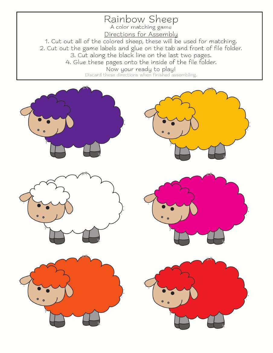 Printable color matching games for preschoolers - Rainbow Sheep Color Matching Game Free Printable Colors