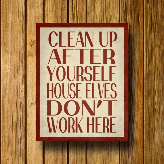 "Harry Potter Typography Poster Print / House Elves Don't Work Here 11"" x 14"" Wall Art / Minimalist Design. $15.00, via Etsy."
