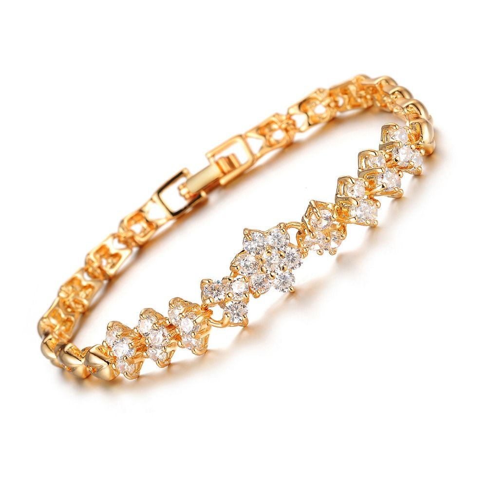 Opk glittering cubic zirconia flower bracelet gold color jewery for