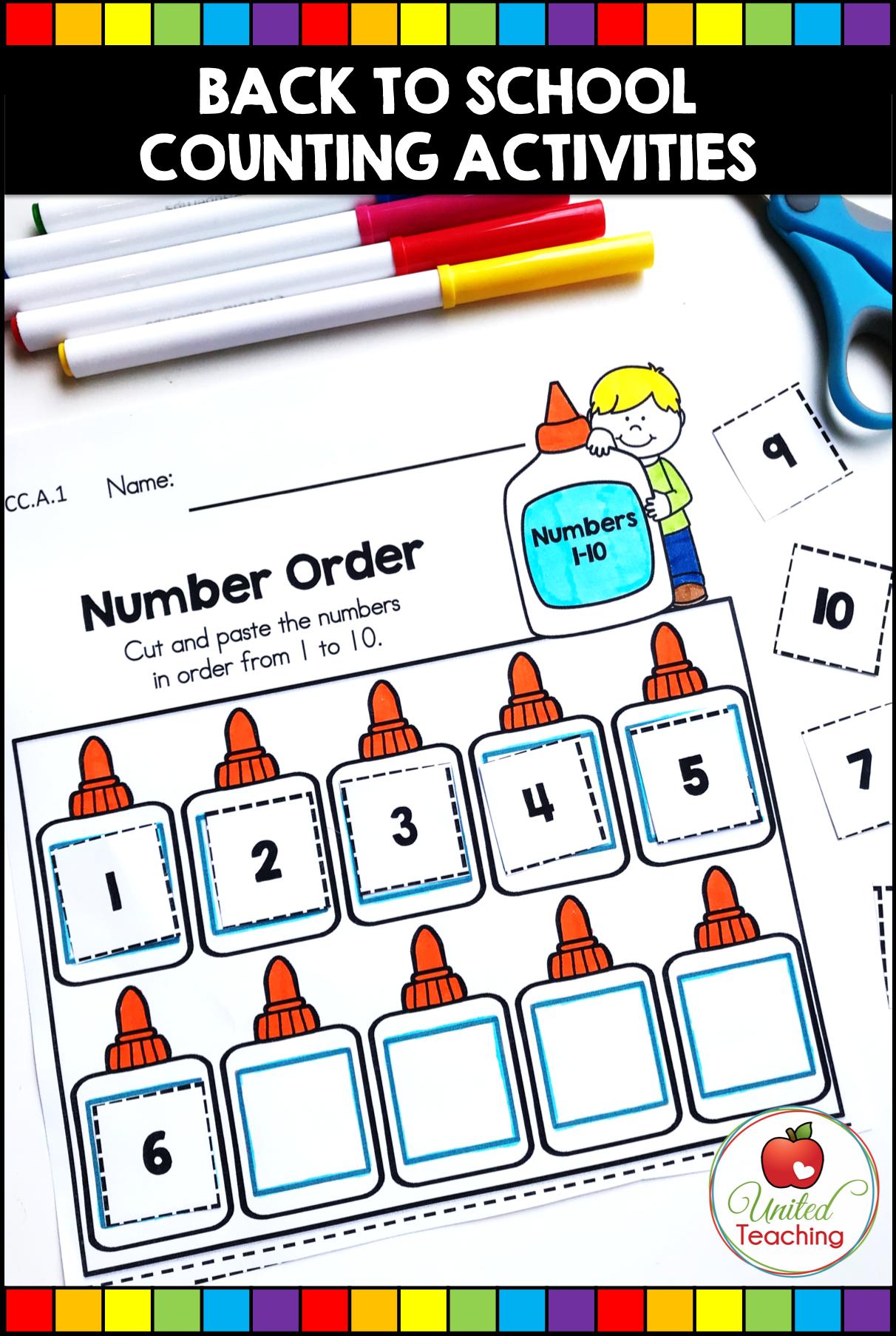Back To School Math And Literacy Kindergarten Activities