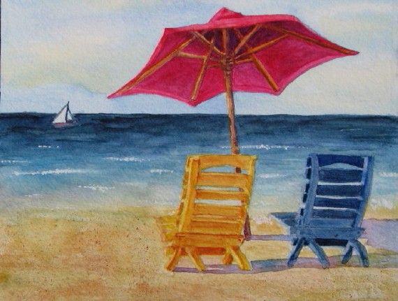 beach chairs and umbrella herman miller chair aeron barbara rosenzweig art print etsy reproduction of original watercolor painting