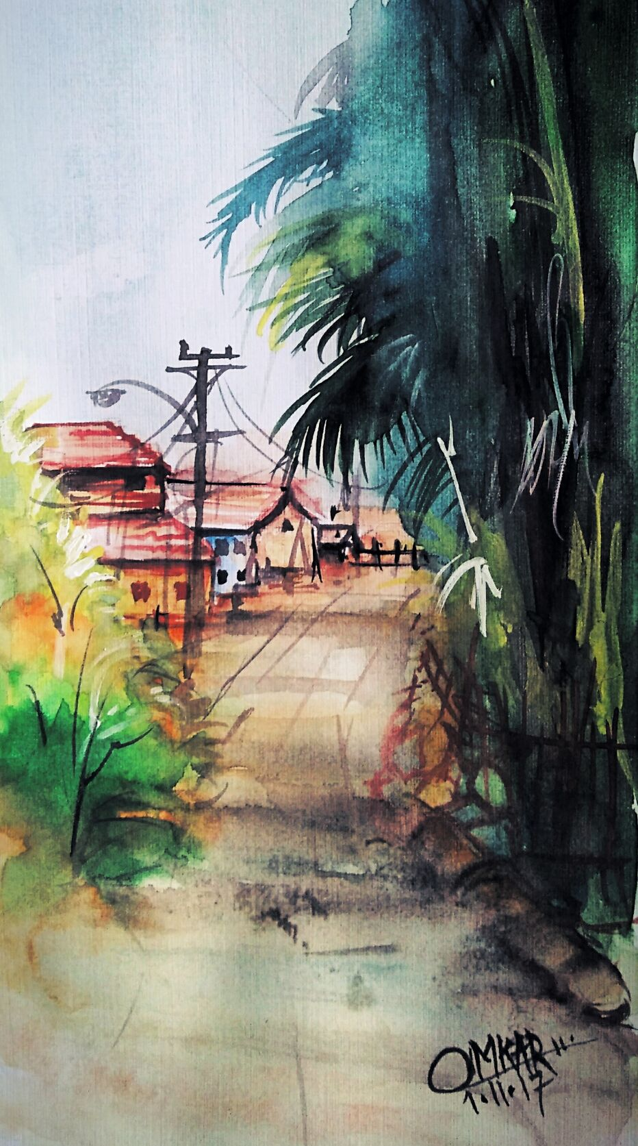 Watercolor Paintings Villages India Native Watercolor