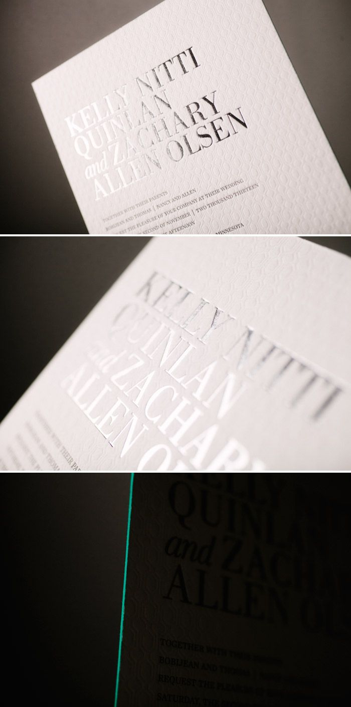 Irving letterpress wedding invitations in silver shine and blind
