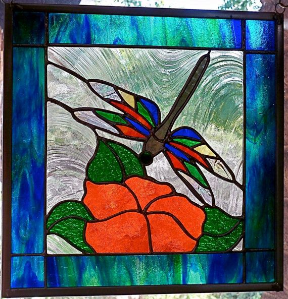 Dragonfly N Magnolia Stained Glass Window Panel 12x12 Stained Glass Windows Stained Glass Patterns Stained Glass