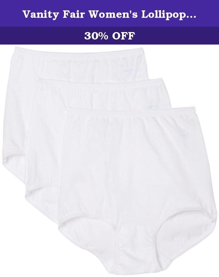 c80dede8c9b0 Vanity Fair Women's Lollipop Brief Panties 3 Pack 15361, White, 7. Designed  for full coverage fit this panty also gives you the comfort of cotton.