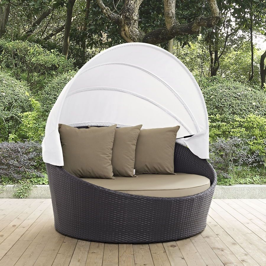 Convene Espresso Mocha Fabric PE Rattan Outdoor Patio Canopy Daybed & Convene Espresso Mocha Fabric PE Rattan Outdoor Patio Canopy ...