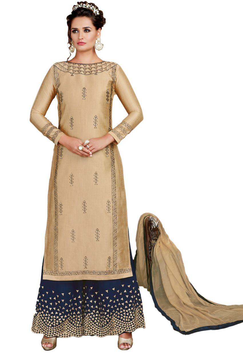 9461f9376801 Semi Stitched #Beige #ArtSilk #Partywear #Palazzo Suit #punjabishararasuit  #salwarkameez #sharara #suits #pakistani#punjabi#weddingsuit #nikvik #sale  ...