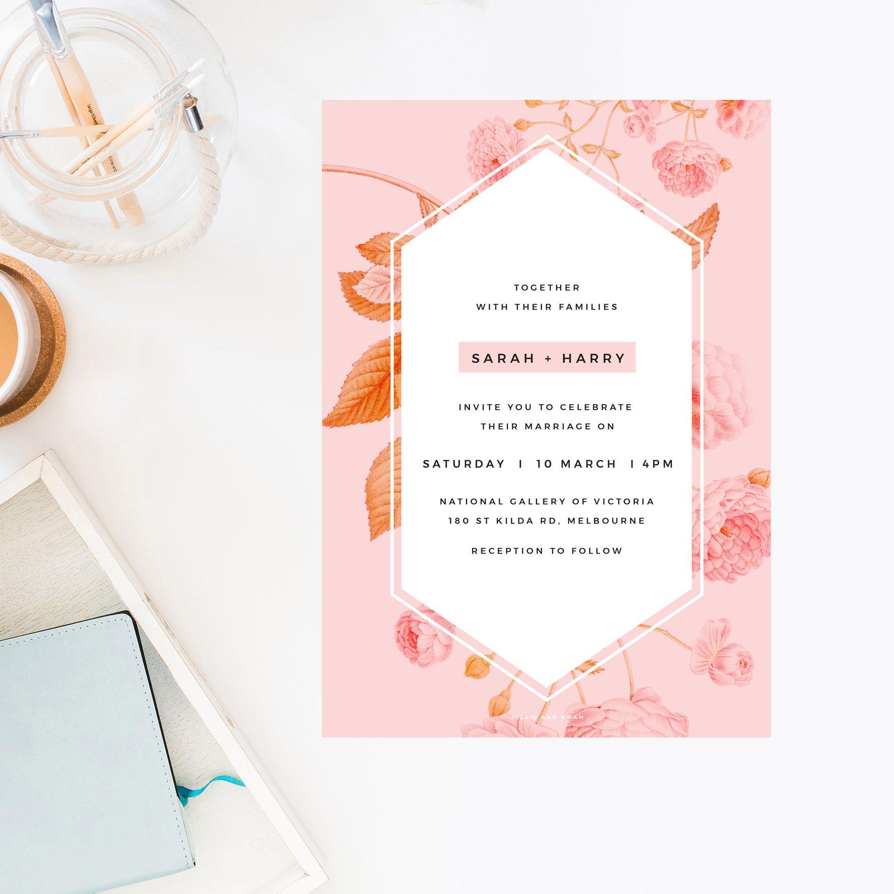 Light Pink Modern Botanical Wedding Invitations - Contemporary ...