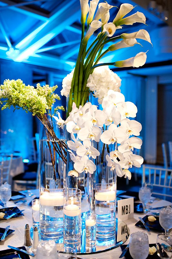 fabulous white on white centerpieces - modern for your winter wedding reception