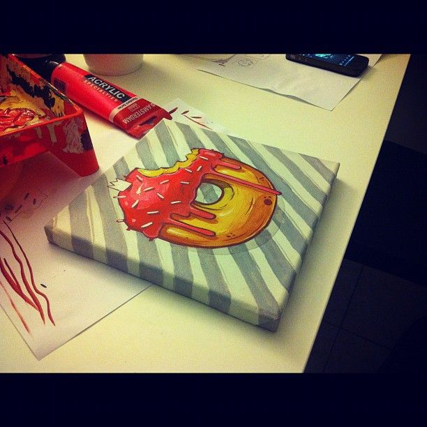 #donut #canvas #painting #20x20cm #art #yummy
