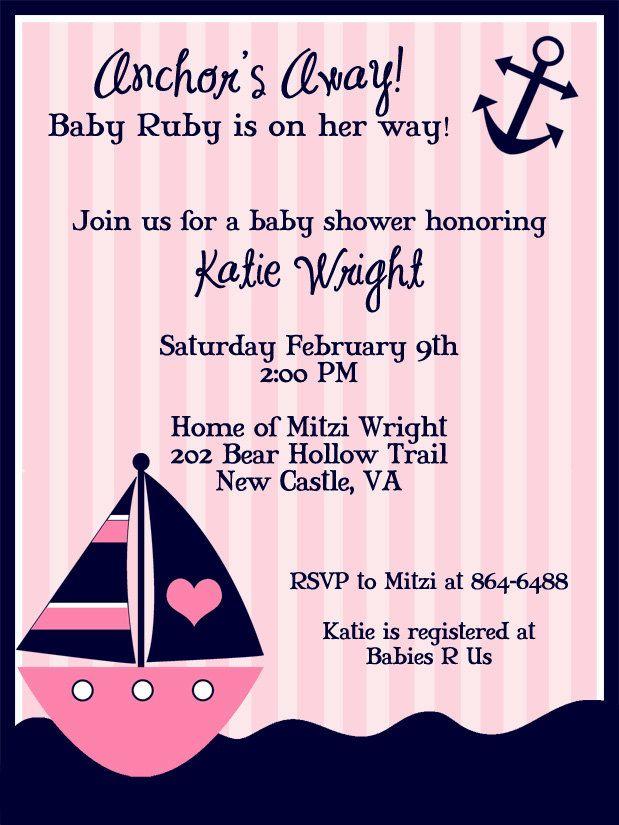 girl nautical, whale baby shower invitation, whale baby shower, Baby shower invitations