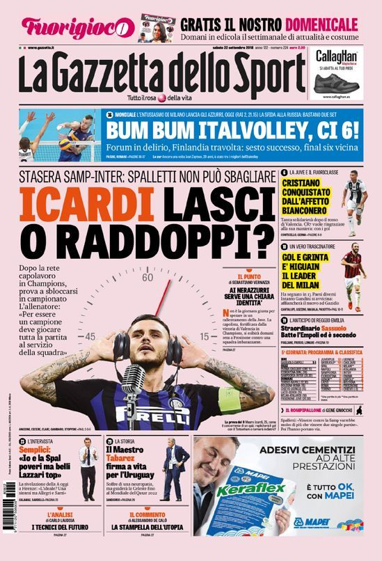 La prima pagina della Gazzetta dello Sport del 21/09/2018