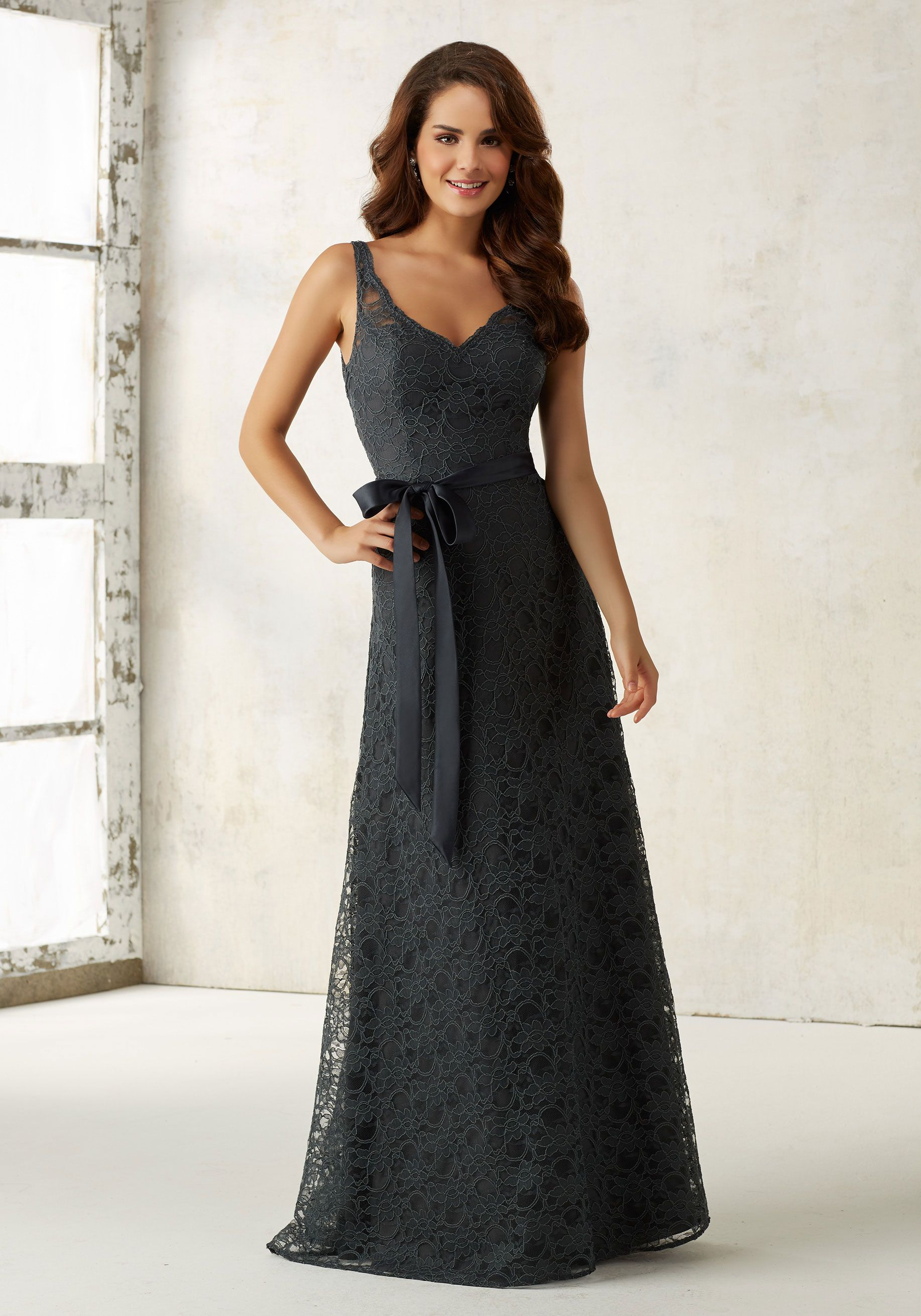 Lace Bridesmaids Dress with Matching Tie Sash   Morilee