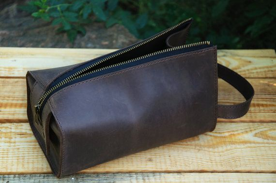 589a62d97cdf Leather Personalized Dopp Kit leather Mens Toiletry Bag by Sinevir