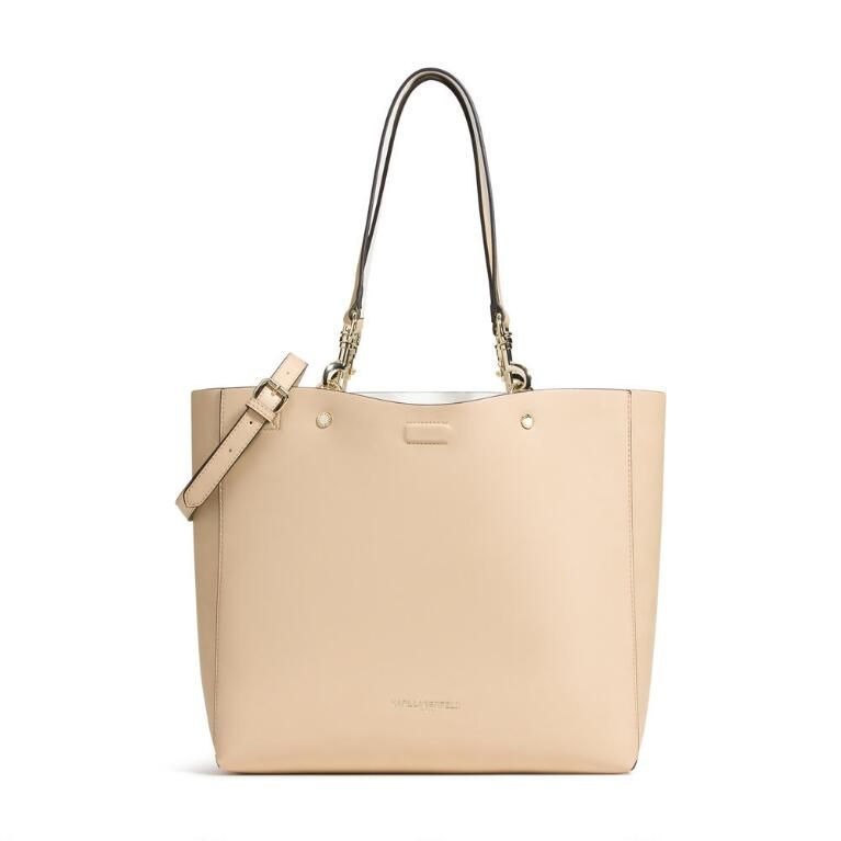 454b4c515bf205 Karl Lagerfeld Paris ADELE TOTE Reversible Faux Leather Tote DESCRIPTION &  DETAILS •Color: Nude/ White or Barley • LEATHER LIKE TOTE BAG • REMOVABLE  DOUBLE ...