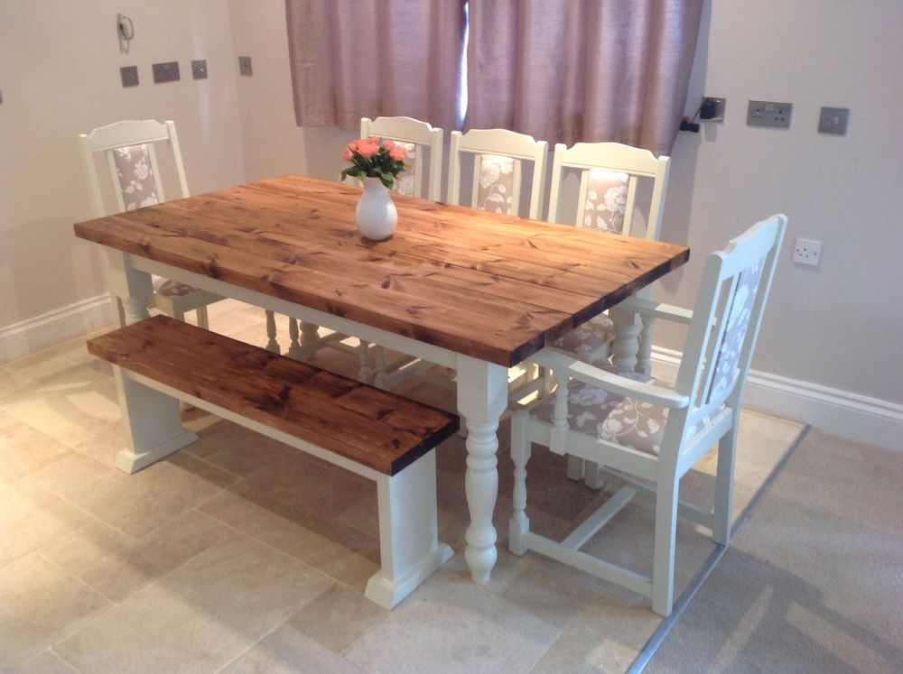 Shabby Chic Rustic Farmhouse Solid  Seater Dining Table Bench And  Oak Chairs