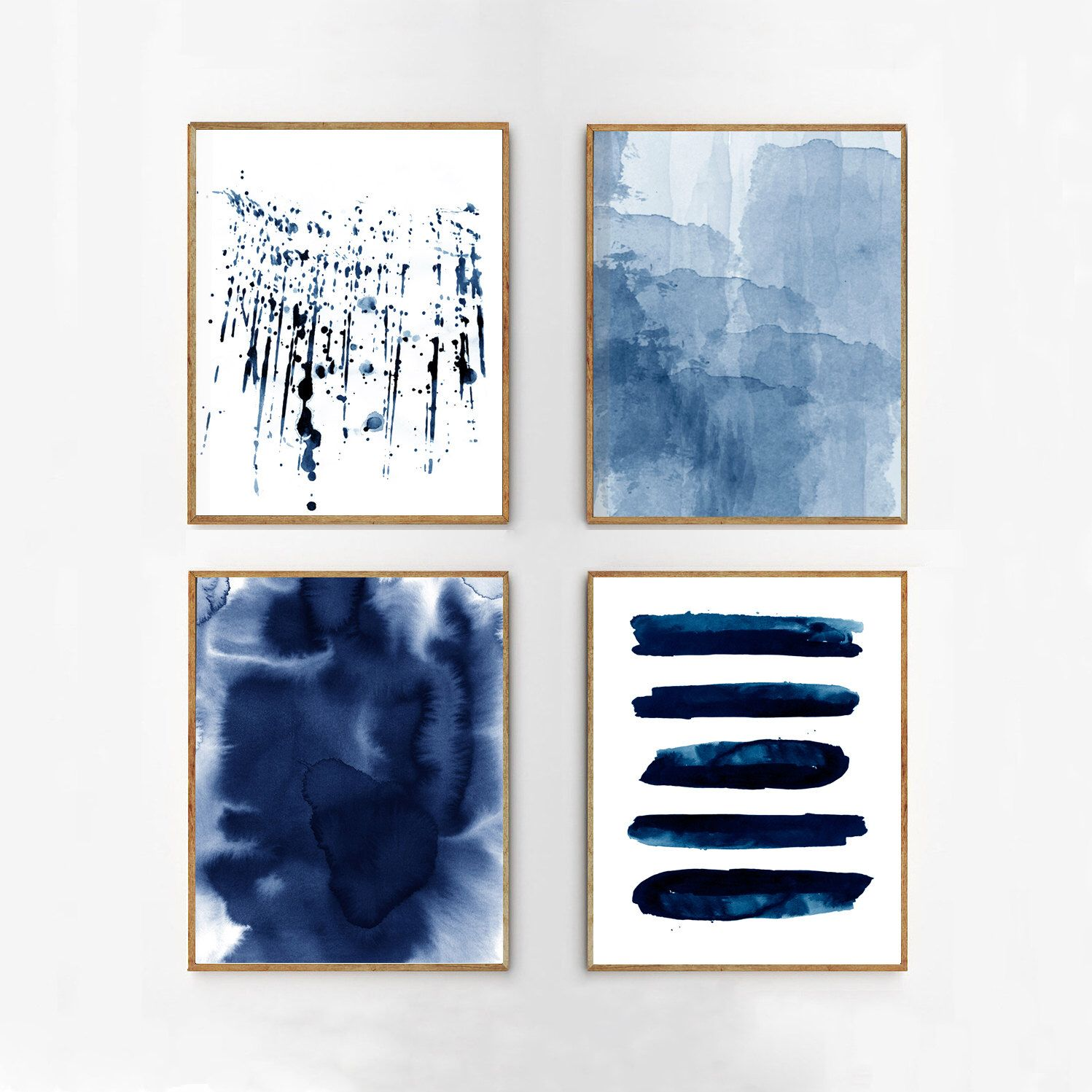 Abstract watercolor set indigo blue wall art large navy for Modern minimalist wall art