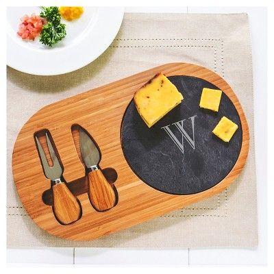 cathyu0027s concepts bamboo u0026 slate cheese board set with utensils x black brown