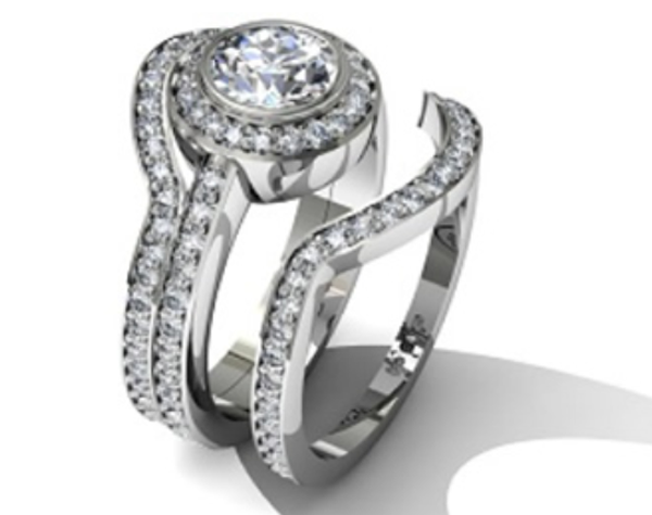 Wedding Rings Actually My Dream Ring Circle Cut Diamond With A Halo On Pavé Encrusted Band And 2 Interlocking Bands
