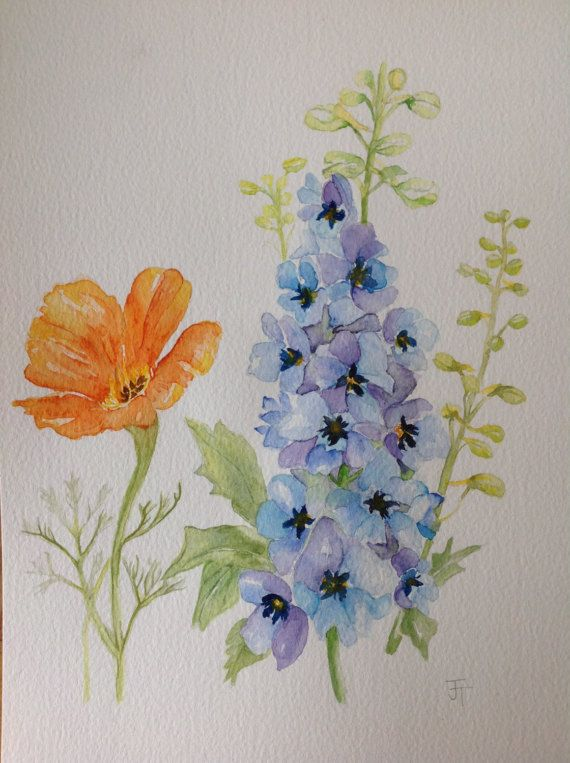 Original Watercolour Painting Blue Delphinium And By Anjeliart