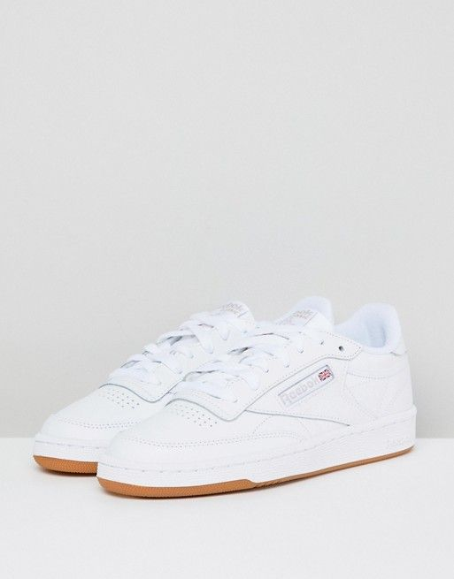 eec3cc5524418 Reebok Classic Club C 85 Sneakers In White Leather With Gum Sole in ...