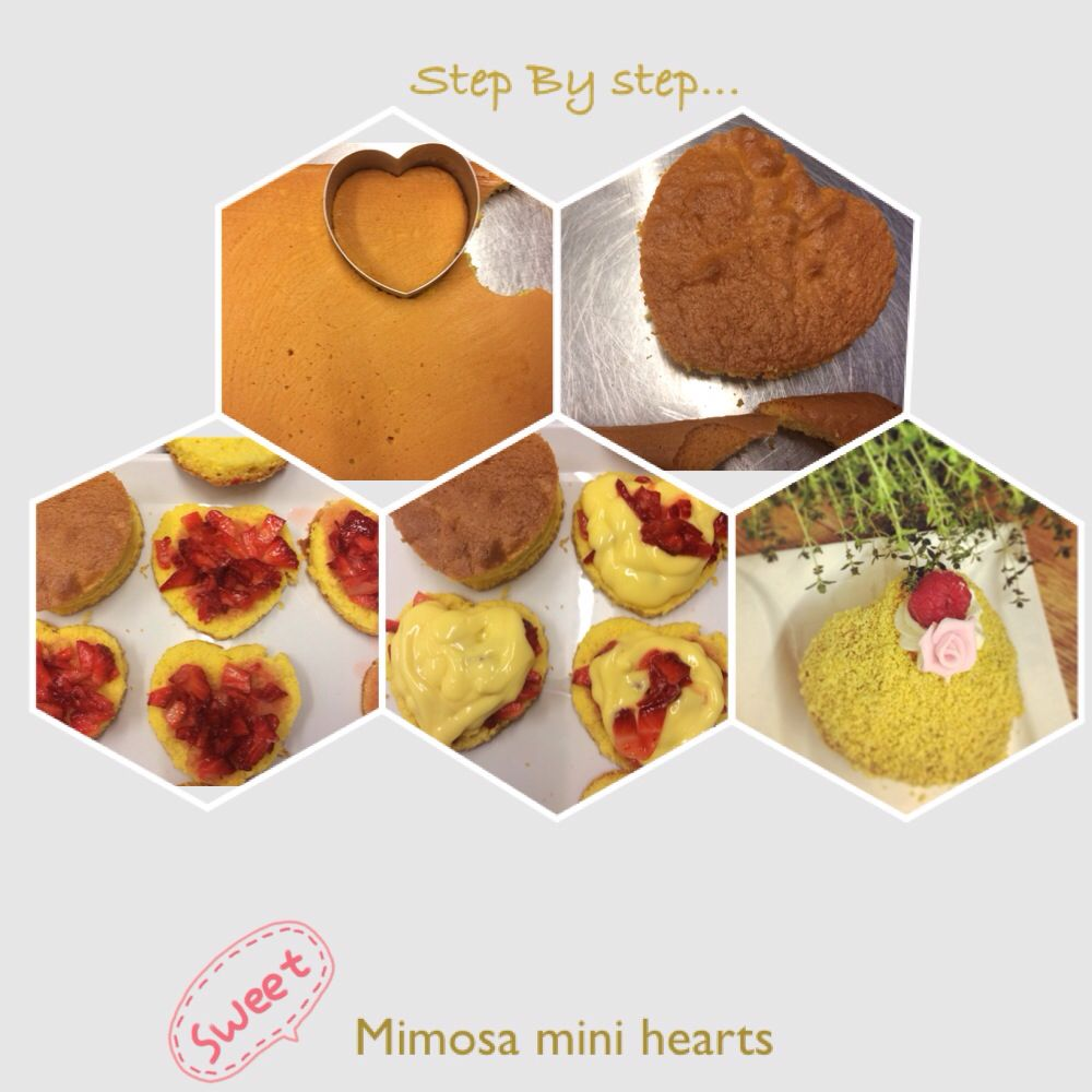 Diy heart shaped mimosa for 8 of March