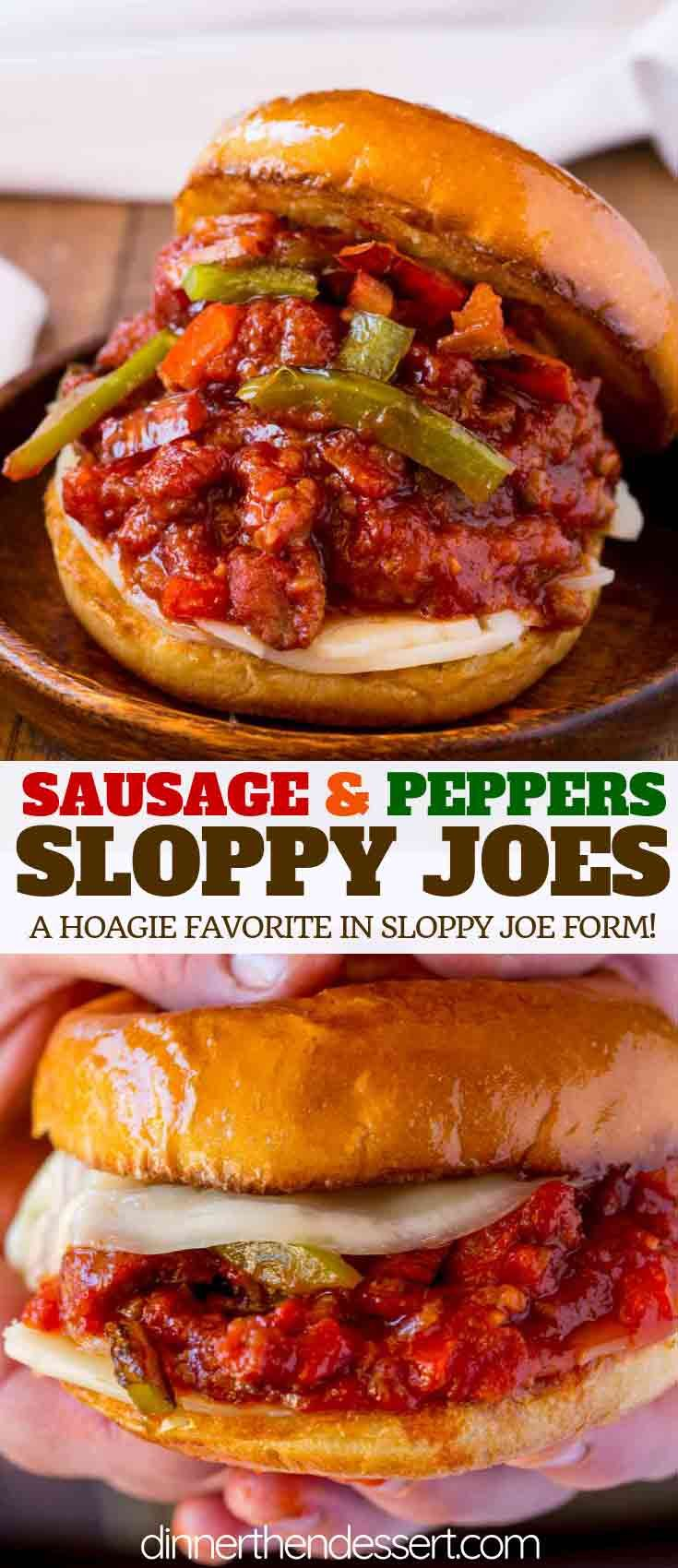 Sausage and Peppers Sloppy Joes made with bell peppers, ground pork served on a toasted brioche roll topped with Provolone cheese and ready in 20 minutes! | #sloppyjoes #sloppyjoe #pork #groundpork #sandwich #lunch #dinnerthendessert #porksausages