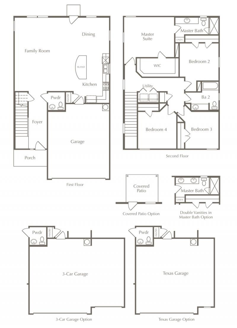 New Home Floor Plan 4 Bedrooms 2 5 Bathrooms 2 013 Square Feet Austin Texas Real Estate New Homes Floor Plans Cedar Park