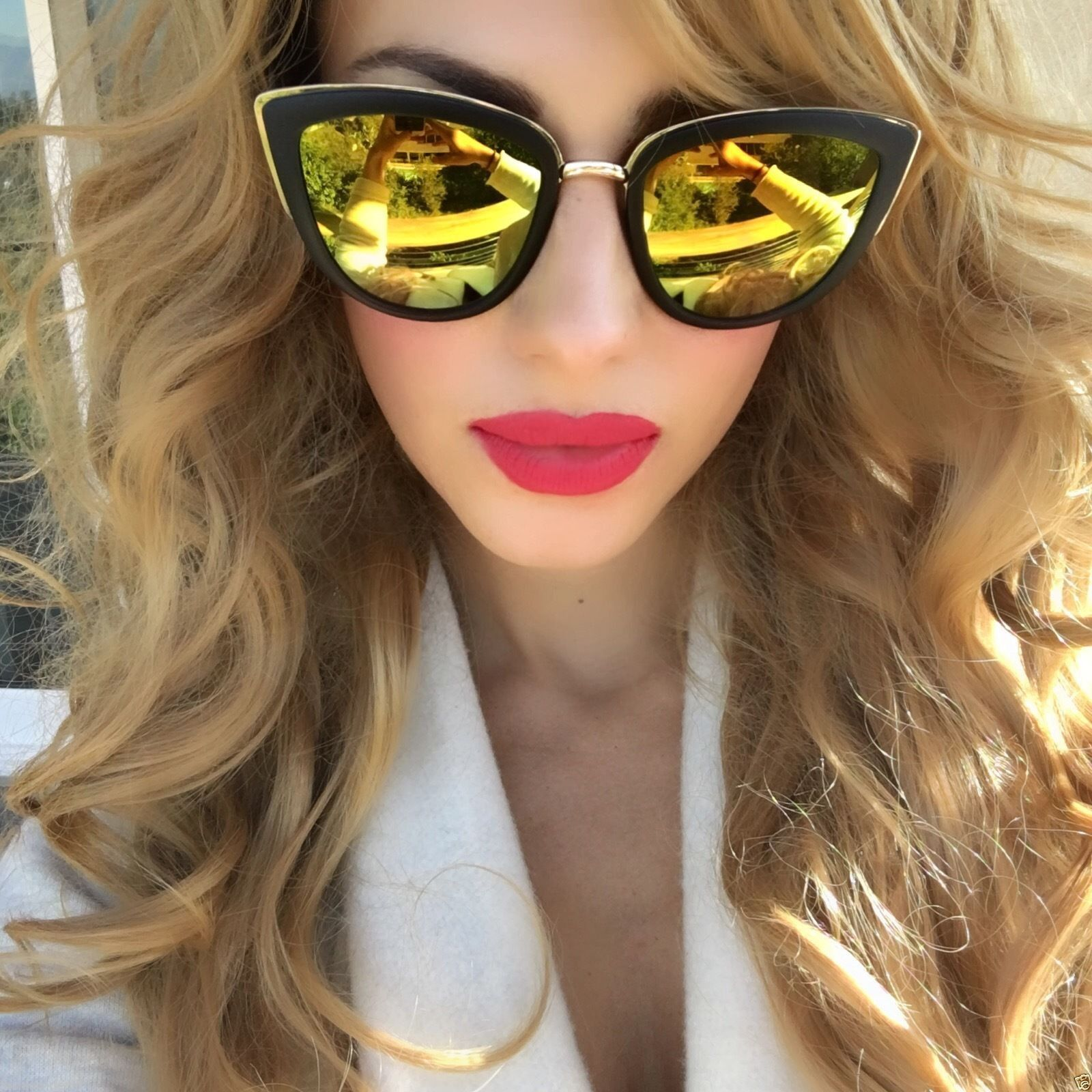 72a88b189386 Oversized shiny cat eye sunglasses. Big cat eye sunglasses with metal bridge.  Various gorgeous revo mirrored rainbow lenses. 100% UVA UVB protection.