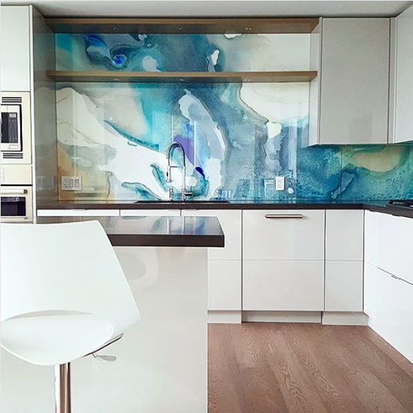 Interior Design Studio Space Harmony Made A Kitchen Backsplash Into A Work  Of Art With Vibrant Watercolor Wallpaper Protected By A Layer Of Glass.