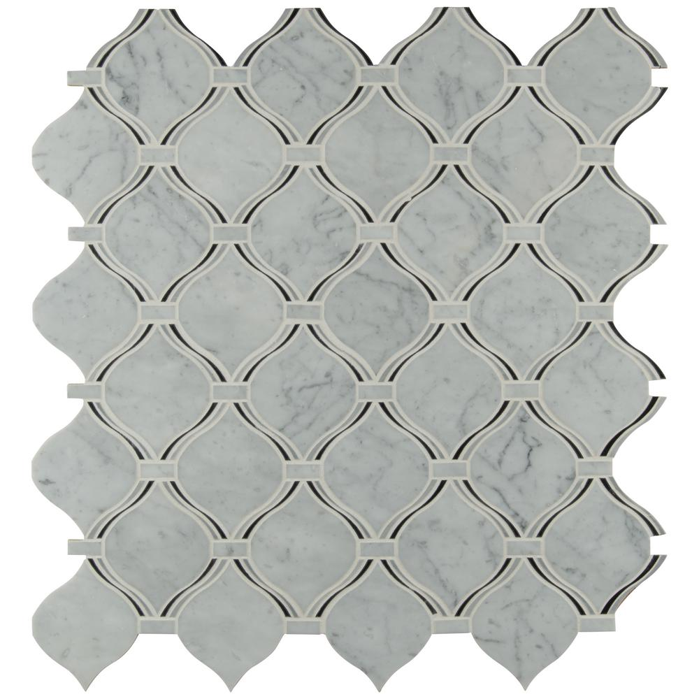 Msi Danza Arabesque 10 94 In X 10 19 In X 8mm Polished Marble Mesh Mounted Mosaic Tile 0 77 Sq Ft Danara Pol8mm The Home Depot Mosaic Wall Tiles Mosaic Mosaic Tiles