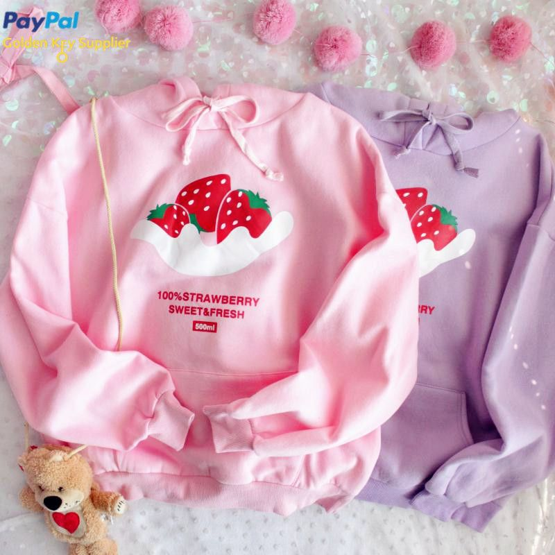FREE DHL SHIPPING Kawaii Strawberry Print Hoodie Sweater