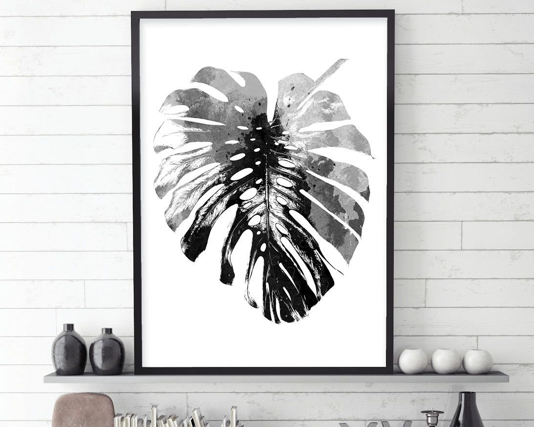 Monstera leaf black and white art scandinavian print scandinavian