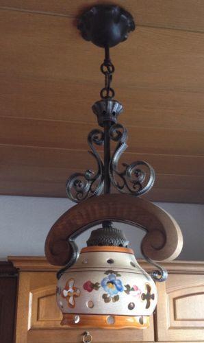 Rustikale Lampe Deckenlampe Keramik Gusseisen Bauernmalerei