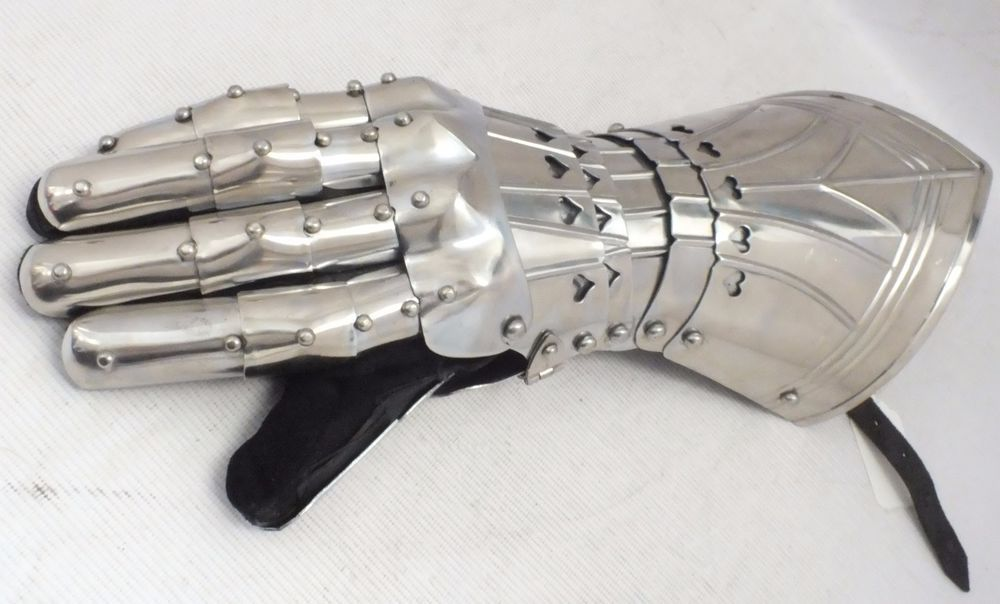 Great Medieval Knight Armour GLOVE / GAUNTLET With Suede INNER Adult Size - A23