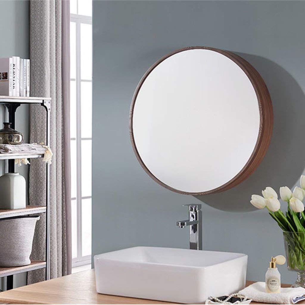 Runde Wandspiegel Fur Badezimmer Spiegelschrank Push Pull Schliessfacher Walnuss Holz 50 50 C Badezimmer Spiegelschrank Runde Badezimmerspiegel Spiegelschrank