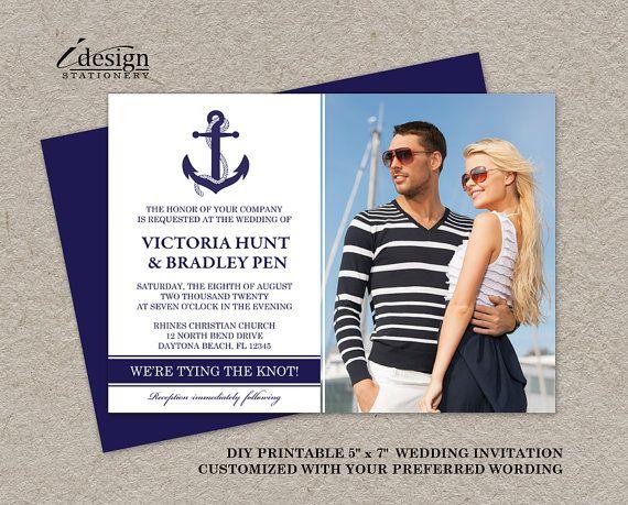 DIY Nautische Foto Hochzeitseinladungen, Druckbare Nautischen Themen  Einladung, Marine Hochzeitseinladungen, Dunkelblaue Anker Hochzeit
