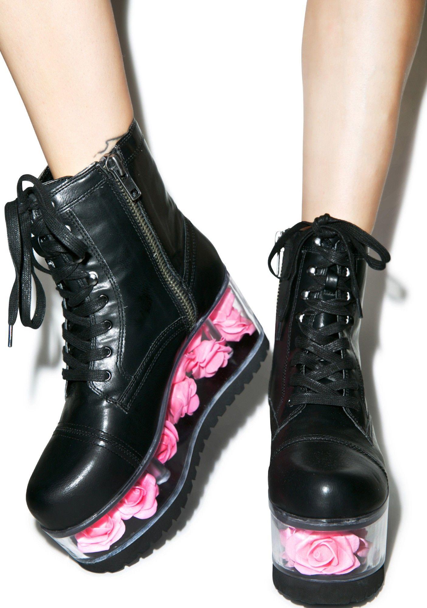8a7aa43781 Y.R.U. X Dolls Kill G.I. Rose Platform Boots